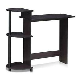 Furinno 11181DWN Compact Computer Desk with Shelves, Dark Wa