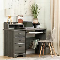 South Shore 12108 Versa Computer Desk with Hutch, Gray Maple