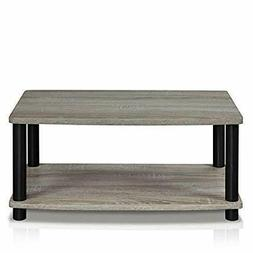 Furinno 13191GYW/BK Turn-N-Tube 2-Tier Elevated TV Stands, F