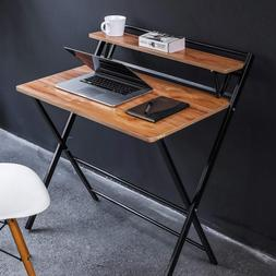 JIWU 2-Form Folding Study Desk for Small Space Home Corner D