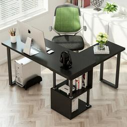 2 in 1 L-Shaped Computer Desk with S Shaped Stand Storage Sh