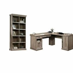 2 Piece Office Set with L Shape Computer Desk and Bookcase i