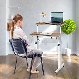 2 Tiers Sit And Stand Computer Desk Mobile Writing Table Hom