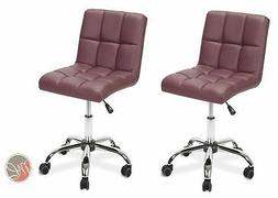 2 x Easy Glide Office Chair PU Leather for Computer Desk, St