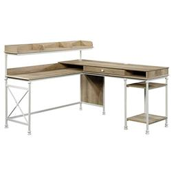 Sauder 423262 Canal Street L-Desk, White & Coastal Oak Finis
