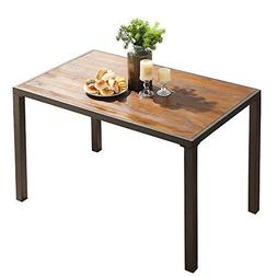 """O&K Furniture 48"""" Industrial Dining Table with Wood Table"""