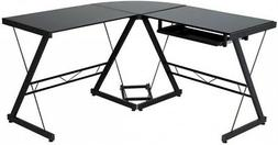 OneSpace 50-JN110505 Ultramodern Glass L-Shape Desk, Black