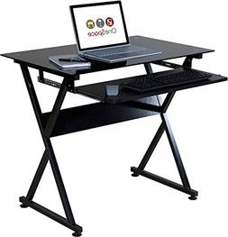 50 jn1205 ultramodern glass computer desk black