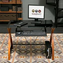 OneSpace Glass and Wood Computer Desk with Pullout Keyboard