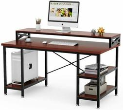 Tribesigns 55 inch Large Computer Desk with Storage Shelves