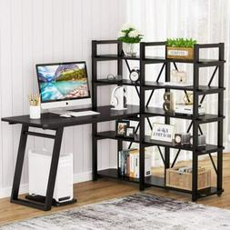 "55"" Large Computer Desk with 10 Storage Shelves, Office Desk"
