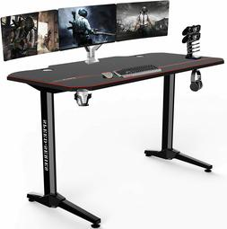 "55""Large Gaming Desk Home Office Computer Table w/Cup Contro"