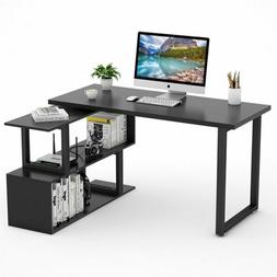 "55"" Rotating L-Shaped Corner Computer Desk with 2 Tier She"