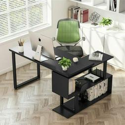 """55"""" Rotating L-Shaped Desk With Shelves Home Office Comput"""