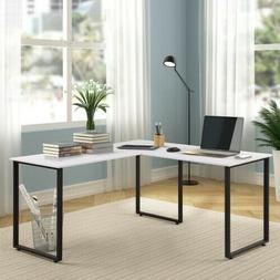 "59"" L-Shaped Desk Metal Legs Office Corner Computer Laptop T"