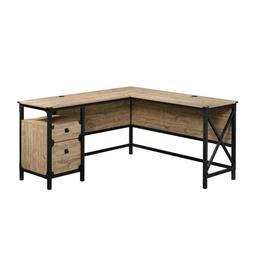 60 in. L-Shaped Milled Mesquite 2 Drawer Computer Desk with