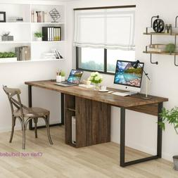 78'' Double Computer Desk With Storage Black White Study Tab