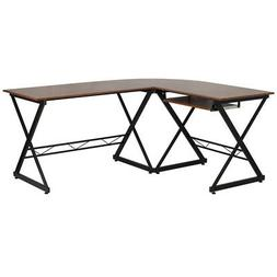 Flash Furniture Teakwood Laminate L-Shape Computer Desk with