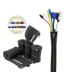 HomeyHomes Cable Management Sleeve and Wire Labels System -