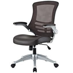 Modway Attainment Mesh Back And Brown Vinyl Modern Office Ch