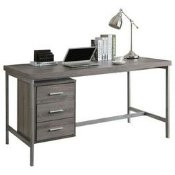 Monarch Reclaimed-Look/Silver Metal Office Desk, 60-Inch, Da