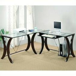 Monterey 3-piece L-Shape Computer Desk Set Cappuccino and Cl