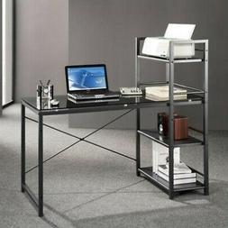 Techni Mobili Computer Desk with 4-Tier Shelf - Glass