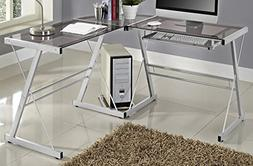 WE Furniture 3 Piece Soren Silver with Smoke Glass Corner De