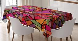 Ambesonne Abstract Tablecloth, Mosaic Style Stained Glass Fr