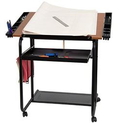 Adjustable Drawing and Drafting Table with Black Frame and D