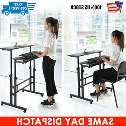 Adjustable Height Stand Up Laptop Table Lift Computer Desk Rolling Workstation