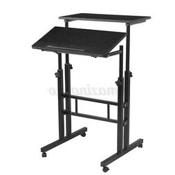 Adjustable Height Sit & Stand Computer Desk Mobile Table H