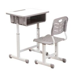 Adjustable Students Desk and Chairs Set White Children Study