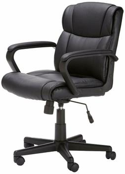 AmazonBasics Mid-Back Adjustable Padded Office Chair Black L
