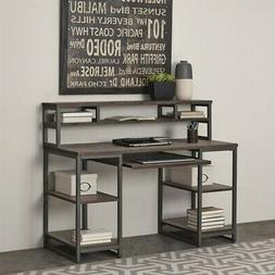 Home Styles Barnside Metro Computer Desk and Hutch in Gray