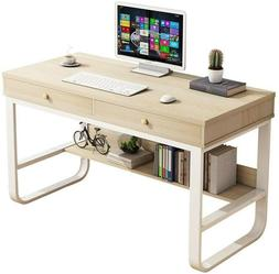 Beige Wood Computer Desk Home Office Area + Multi-Layer Stor
