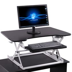 Black Adjustable Height Stand Up Desk Computer Workstation L