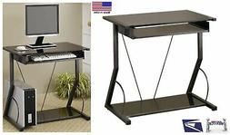 Black Computer Desk With Pull Out Keyboard Tray For Small Sp