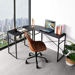 Black Finish Metal Wood Corner L-Shape Computer Desk PC Lapt