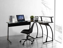 Black Finish Metal Wood L-Shape Corner Computer Desk PC Lapt