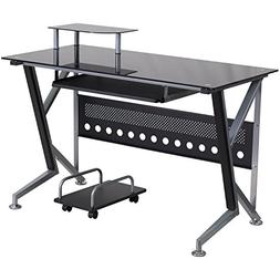 Flash Furniture Black Glass Computer Desk with Pull-Out Keyb