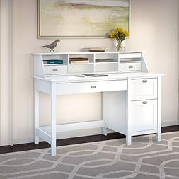 Bush Furniture Broadview Pure White Desk with Drawers and Or