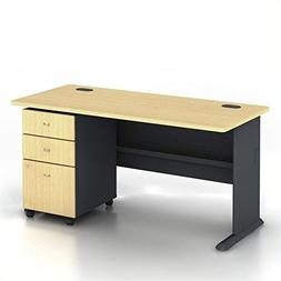 "Bush Series A 60"" Wood Computer Desk with 3-Drawer File Cabi"