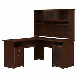 Cabot L-Shaped Computer Desk with Hutch, Harvest Cherry