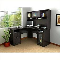 Bush Furniture Cabot L Shaped Computer Desk with Hutch in Es