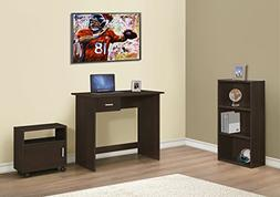 CAPPUCCINO COMPUTER DESK WITH BOOKCASE AND CART, 3 PIECES SE