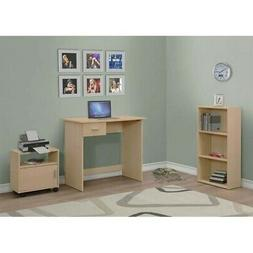 Children's 3-Piece Computer Desk with Bookcase and Cart Mapl