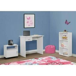 Children's 3-Piece Computer Desk with Bookcase and Cart Whit