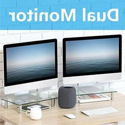 FITUEYES Clear Computer Monitor Riser Dual Desktop Stand for