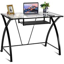 Clear Glass Top Computer Desk with Pull-Out Keyboard Tray Ho